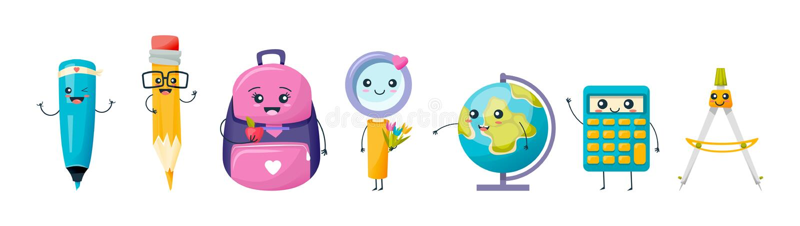 Reeks van diverse leuke school en het werkhulpmiddelen en kantoorbehoeften vector illustratie