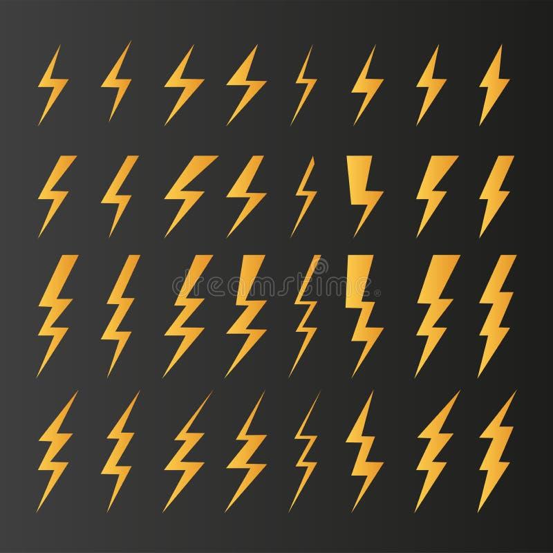 Reeks van van donderflitsen donkere vector als achtergrond royalty-vrije illustratie