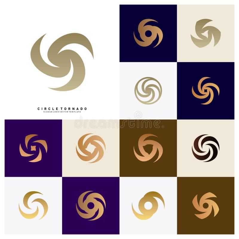 Reeks van Draaikolk Logo Design Concept Vector Orkaanpictogram Tornado Logo Symbol royalty-vrije illustratie