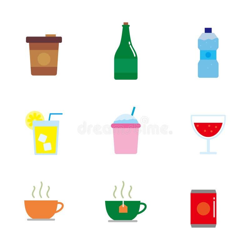 Reeks van drankenvector met eenvoudig vlak ontwerp royalty-vrije illustratie
