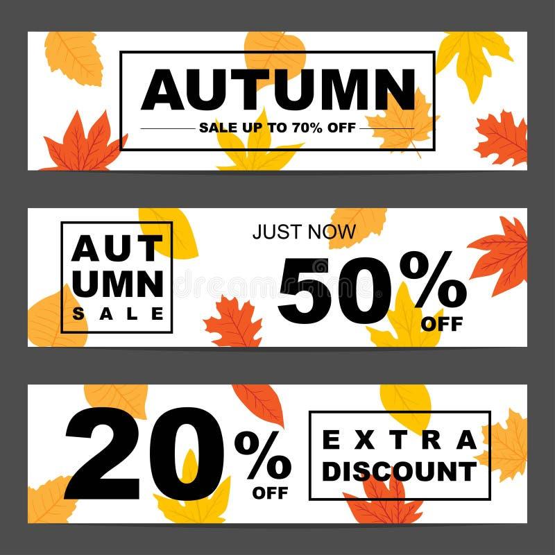 Reeks van drie aard horizontale banners met kleurrijke de herfstbladeren stock illustratie
