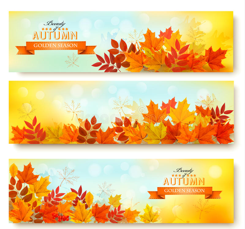 Reeks van drie aardbanners met kleurrijke de herfstbladeren stock illustratie