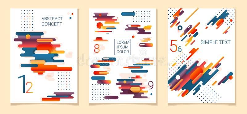 Reeks van drie Abstracte samenstellingen van rond gemaakte banden, futuristische en moderne kleuren Vectormalplaatjes voor affich stock illustratie