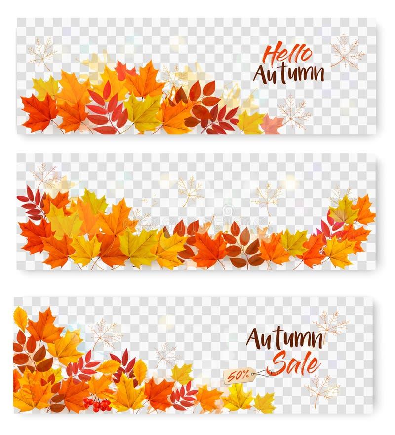 Reeks van Drie Autumn Sale Banners With Colorful-Bladeren stock illustratie