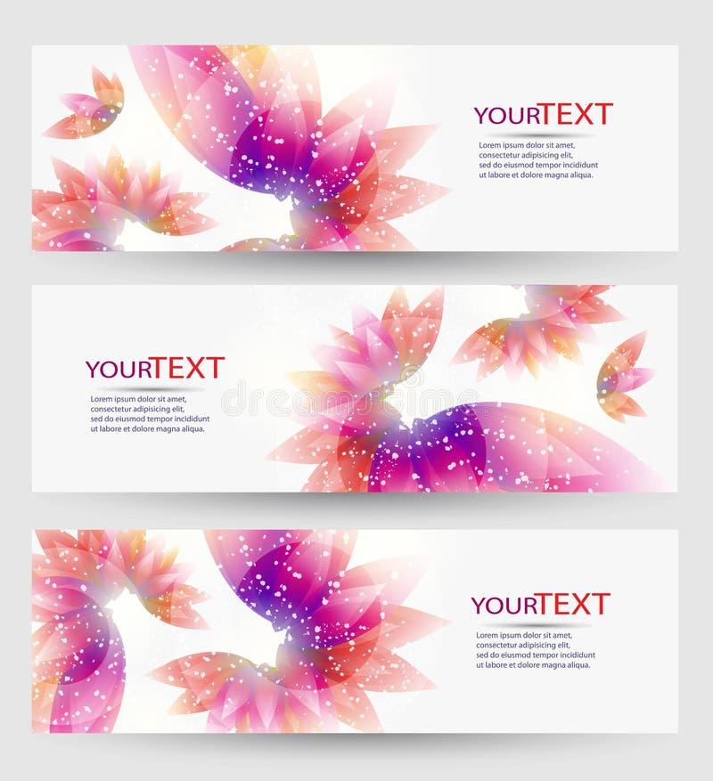 Reeks van drie banners, abstracte kopballen, met kleurrijke bloemenelementen royalty-vrije illustratie