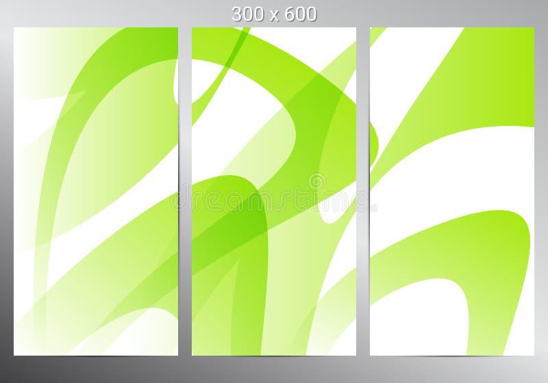 Reeks van drie banners Groene Abstracte Achtergrond Vector illustratie stock illustratie