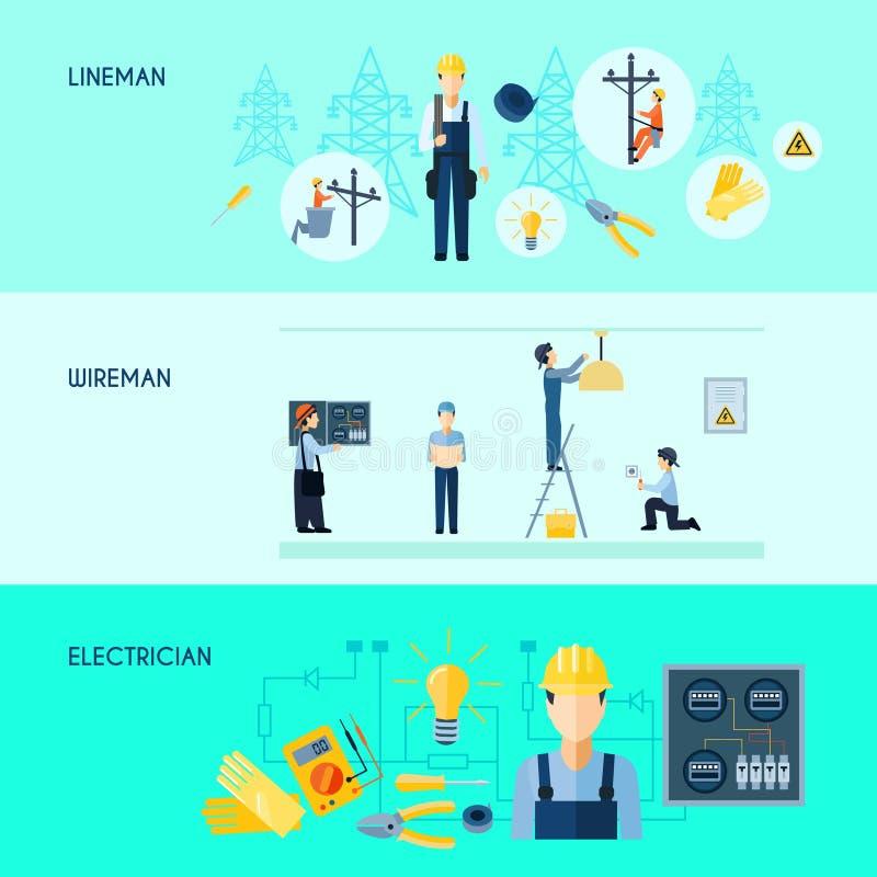 Reeks van Drie Elektriciteitsbanners vector illustratie