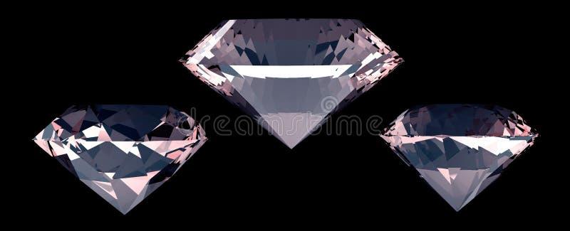 Reeks van drie grote diamanten Zwarte achtergrond 3d geef terug royalty-vrije illustratie