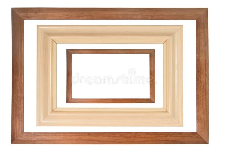 Reeks van drie houten frames stock afbeeldingen