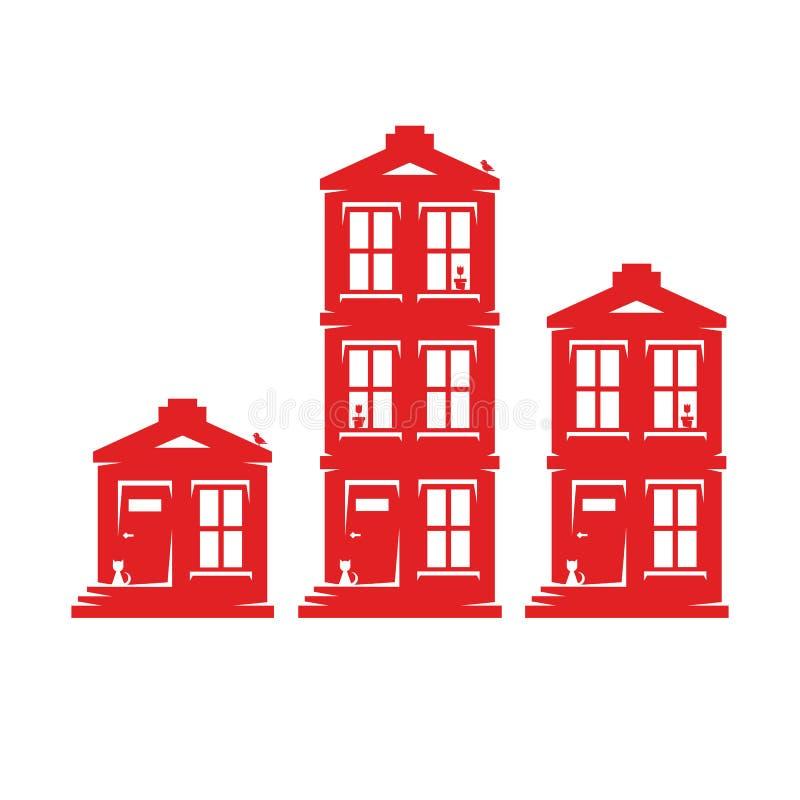Reeks van drie huizen vector illustratie