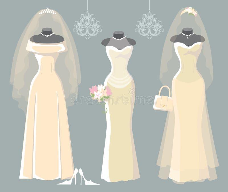 Reeks van drie huwelijks lange kleding vector illustratie