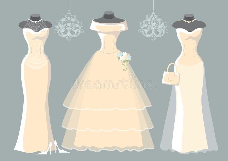 Reeks van drie huwelijks lange kleding royalty-vrije illustratie
