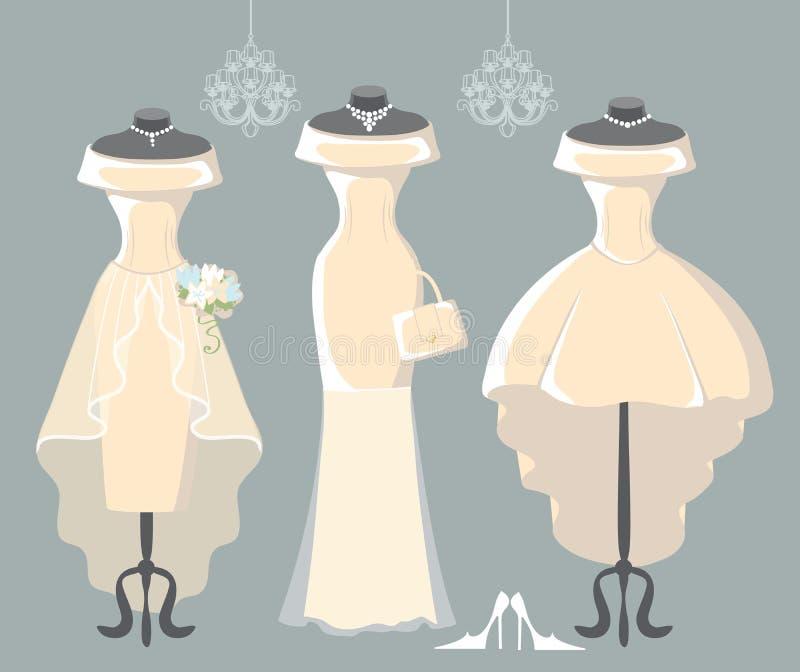 Reeks van drie huwelijkskleding stock illustratie