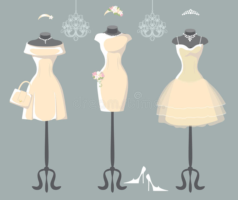 Reeks van drie huwelijkskleding met korte rok vector illustratie