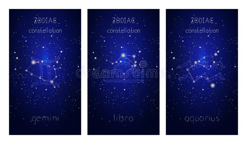 Reeks van drie kaarten met Sterrenbeelden, astrologische constellaties en hand het getrokken van letters voorzien tegen de sterri royalty-vrije illustratie