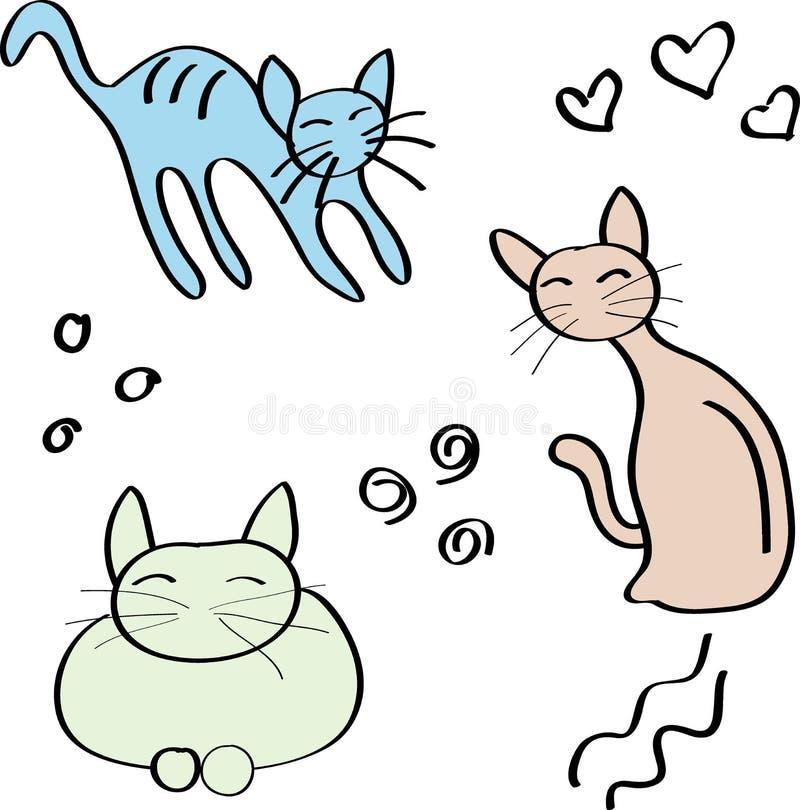 Reeks van drie katten stock illustratie