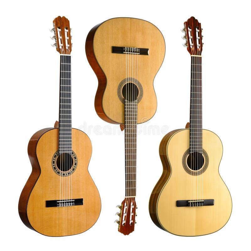 Reeks van drie klassieke gitaren stock afbeelding
