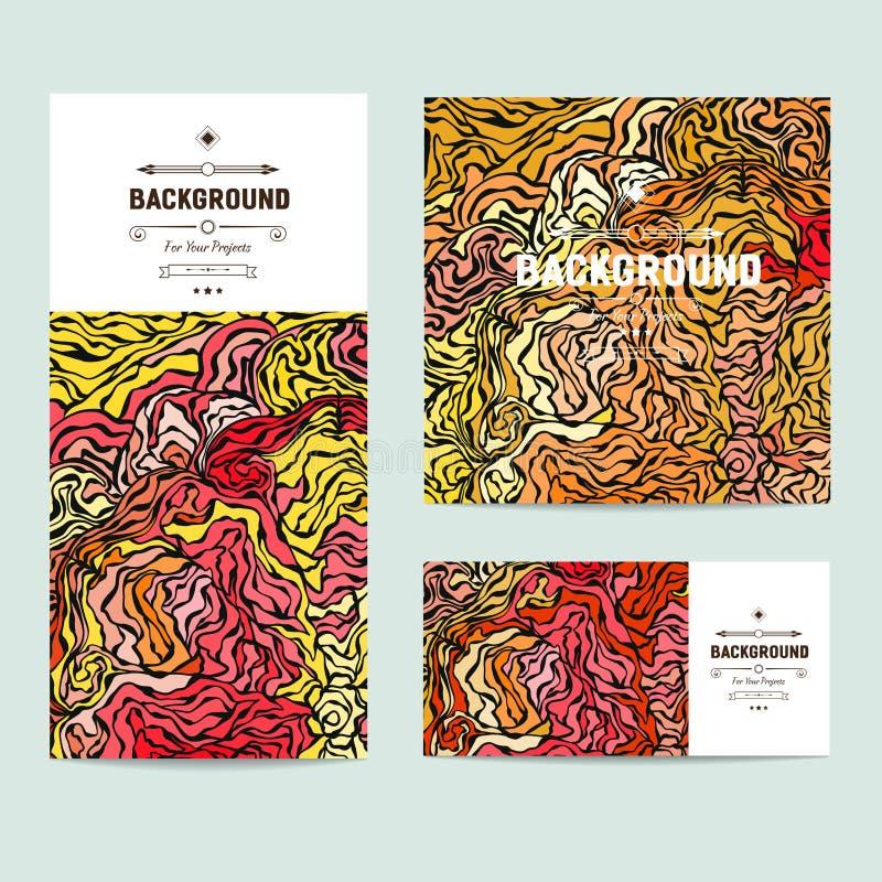 Reeks van drie kleurrijke abstracte hand getrokken vectorontwerpen als achtergrond met impressionistic stijl, helder kleurenschem stock illustratie