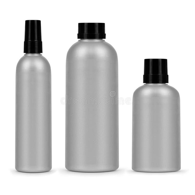 Reeks van drie kosmetische flessen op een witte achtergrond royalty-vrije stock foto