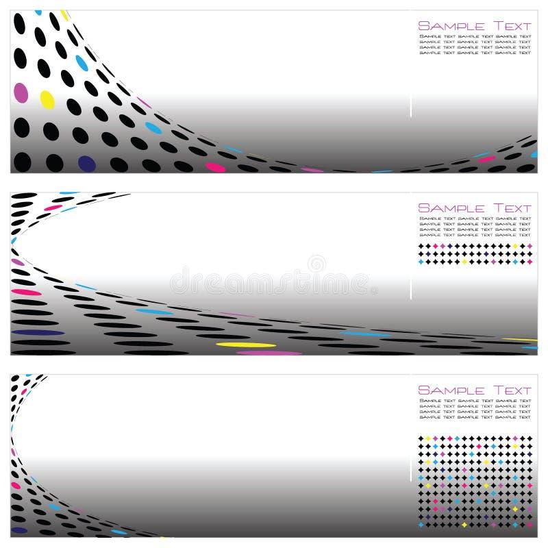 Reeks van Drie Malplaatje Van uitstekende kwaliteit Abstracte Backgr royalty-vrije illustratie