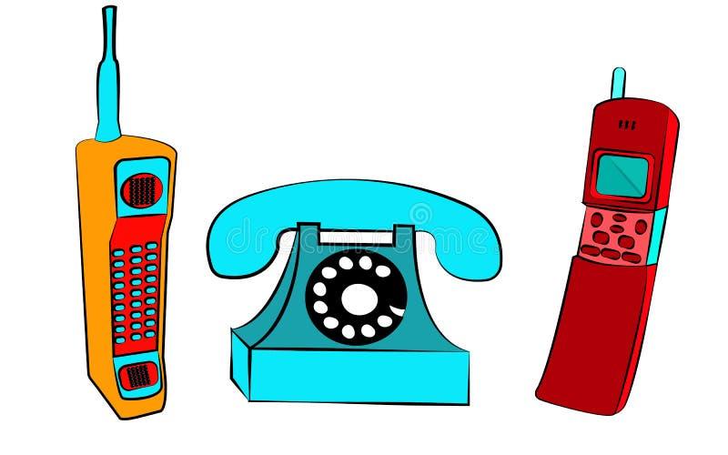 reeks van drie oude gele en rode retro uitstekende blauwe knopen met uitstekende vierkante eerste mobiele telefoons met lange ant royalty-vrije illustratie