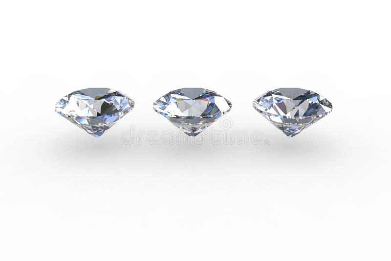 Reeks van drie ronde diamanten vector illustratie