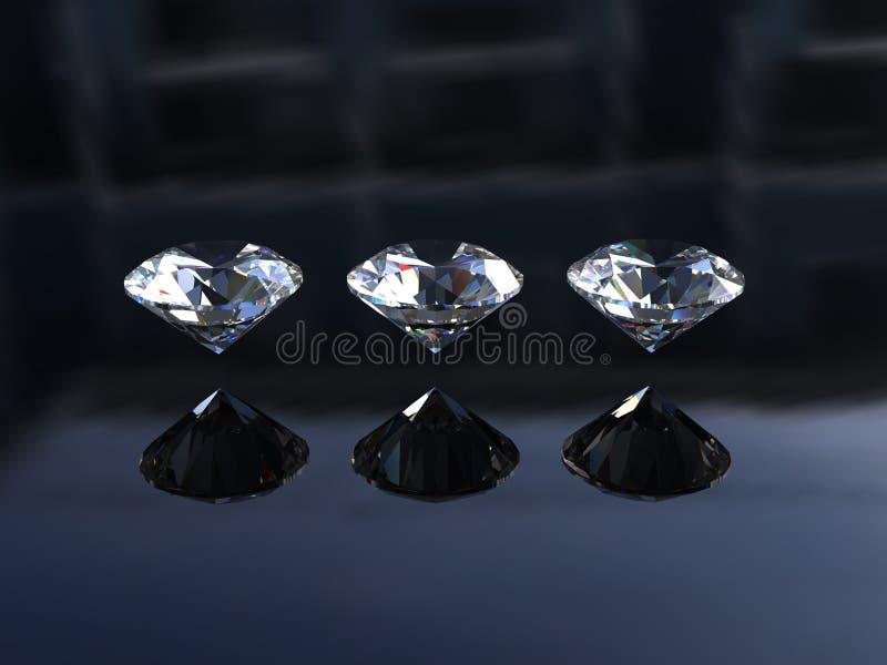Reeks van drie ronde prachtige diamanten stock illustratie