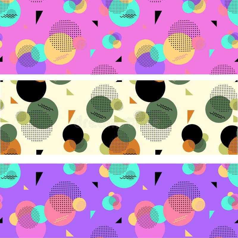 Reeks van drie samenvatting gekleurde banners van cirkels, punten en zig royalty-vrije illustratie