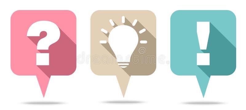 Reeks van Drie Speechbubbles Vraagidee en Antwoord Retrocolors vector illustratie