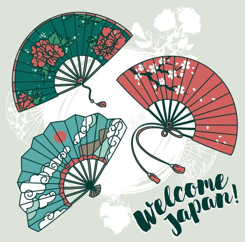 Reeks van drie traditionele Aziatische handdocument ventilator met mooie ornamenten royalty-vrije illustratie