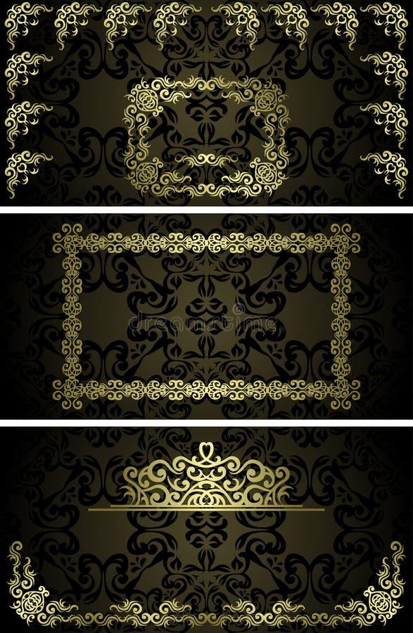 Reeks van drie uitstekende kaarten vector illustratie