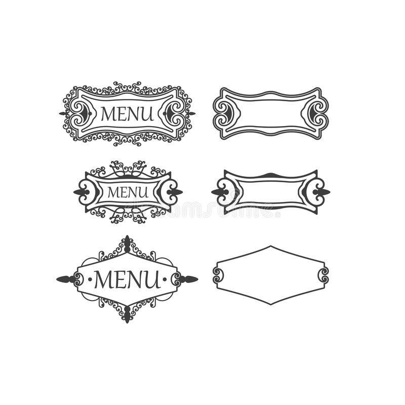 Reeks van drie uitstekende kaders met decoratieve en bloemenelementen stock illustratie
