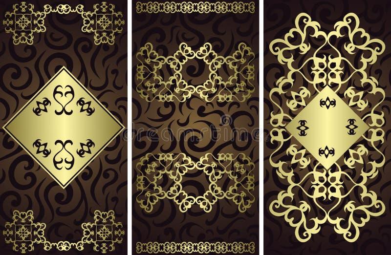 Reeks van drie vector bloemenkaarten vector illustratie