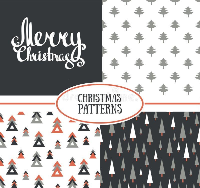 Reeks van drie vector naadloze patronen met modieuze Kerstbomen en Vrolijke Kerstmis stock illustratie