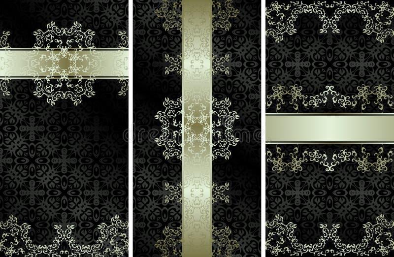 Reeks van drie vector uitstekende kaarten met een mooi bloemen zilveren decor royalty-vrije illustratie