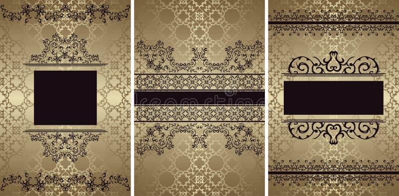 Reeks van drie vector uitstekende kaarten met mooie barokke patronen royalty-vrije illustratie