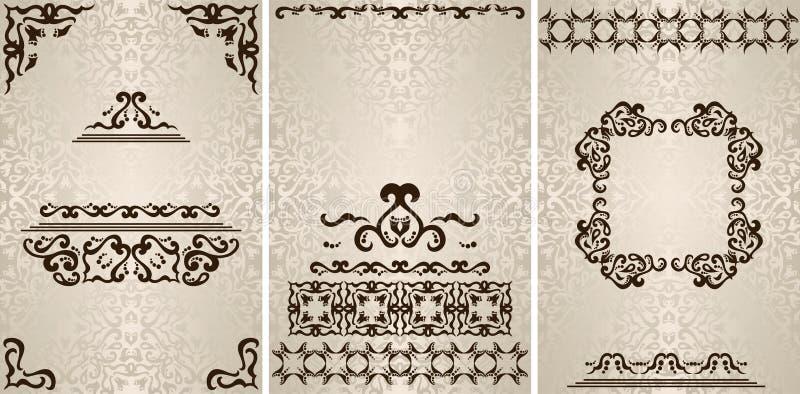 Reeks van drie vector uitstekende uitnodigingen met mooie barokke patronen, kaders en lichte achtergrond stock illustratie