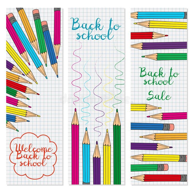 Reeks van drie verticale banners met multicolored potloden royalty-vrije illustratie