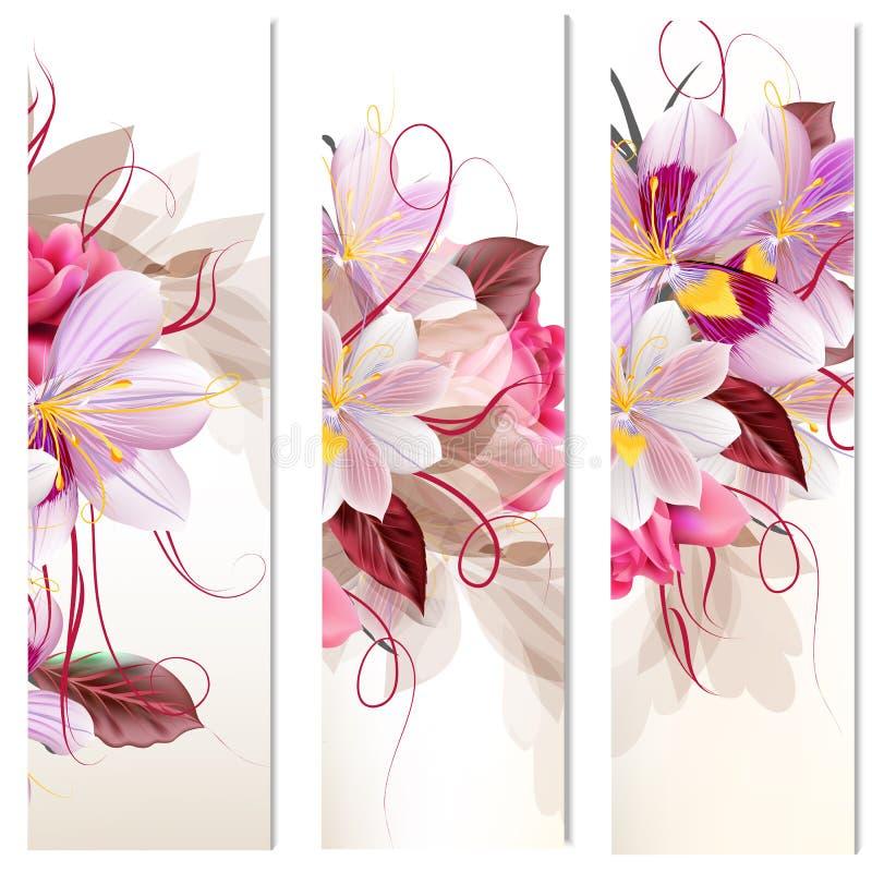 Reeks van drie verticale bloemenbanners voor uw ontwerp stock illustratie