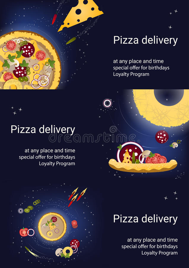 Reeks van drie vliegers met pizza en ingrediënten op een donkerblauwe achtergrond stock foto's