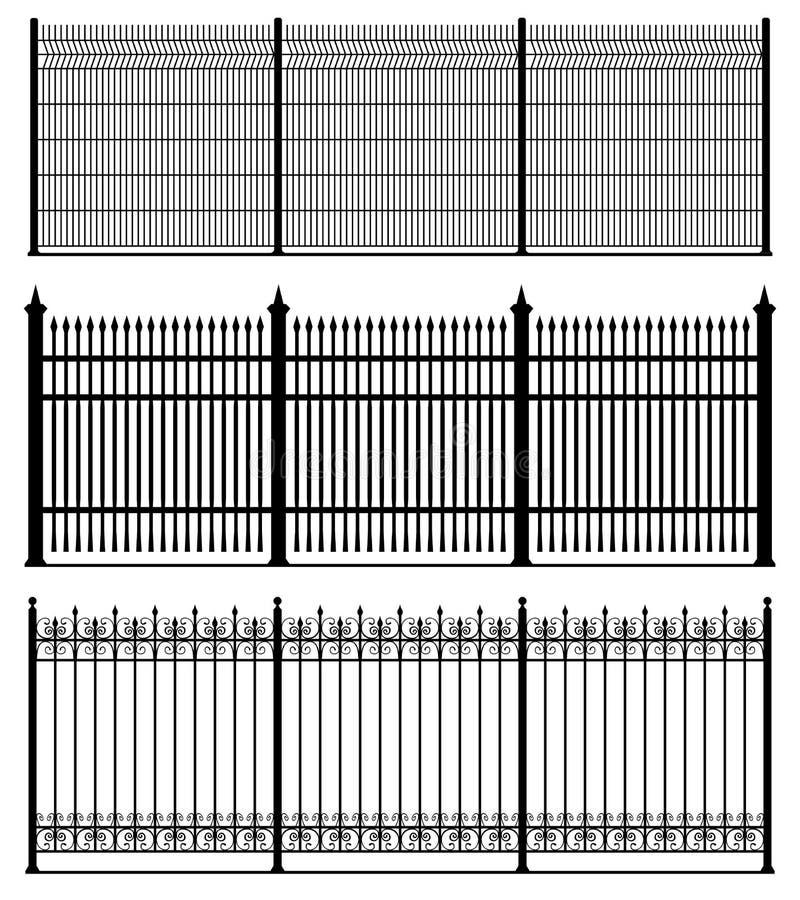Reeks van drie zwarte die omheiningen over witte achtergrond, reeks van de silhouet de houten omheining wordt geïsoleerd royalty-vrije illustratie