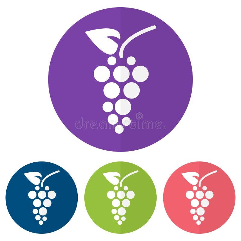 Reeks van druivenpictogram op kleurrijke cirkels Vector illustratie stock illustratie