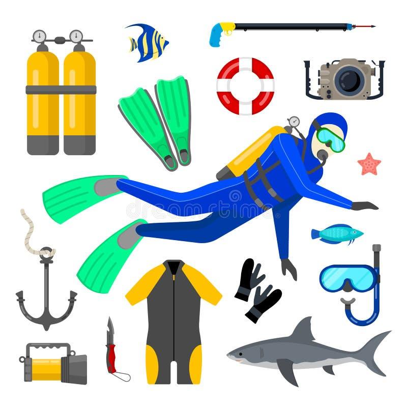 Reeks van duikuitrusting royalty-vrije illustratie