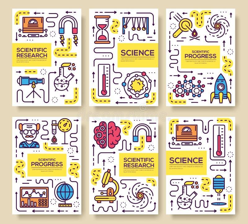 Reeks van dun het patroonconcept van lijn technisch meningen Van de kunstfysica en wiskunde materiaal, tijdschrift, boek, affiche stock illustratie