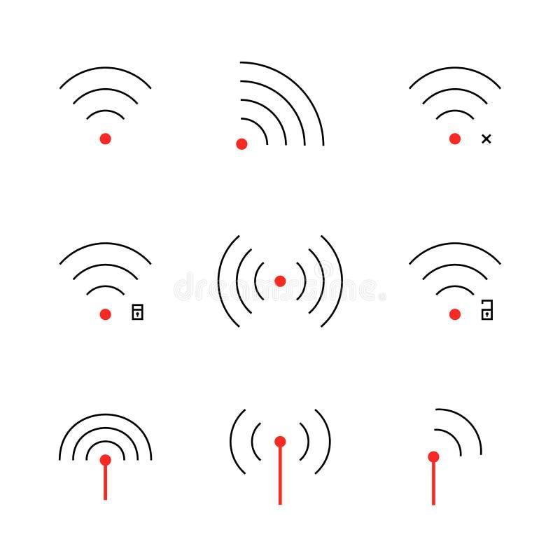 Reeks van dun het signaalpictogram van lijnwifi stock illustratie