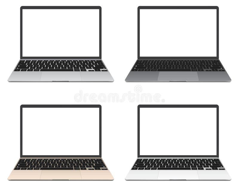 Reeks van dunne Laptop met het lege die scherm op witte achtergrond wordt geïsoleerd stock illustratie