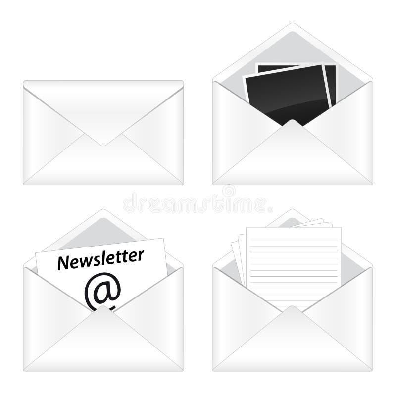 Reeks van e-mailpictogram stock illustratie