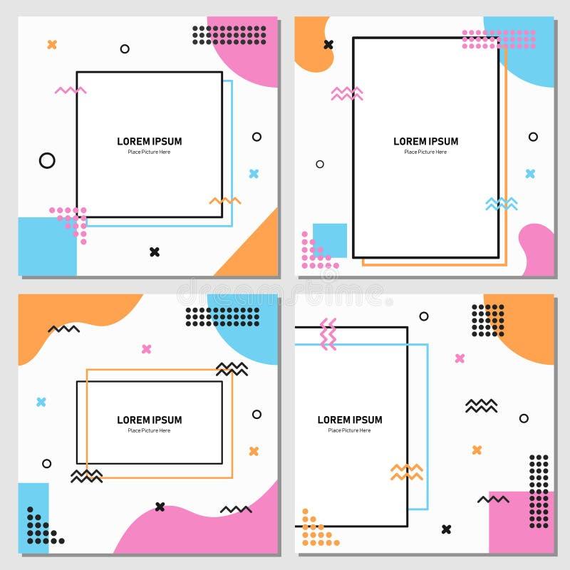Reeks van editable vierkant bannermalplaatje Editablebanner voor sociale media post en Web/Internet-advertenties Editablebanner a vector illustratie