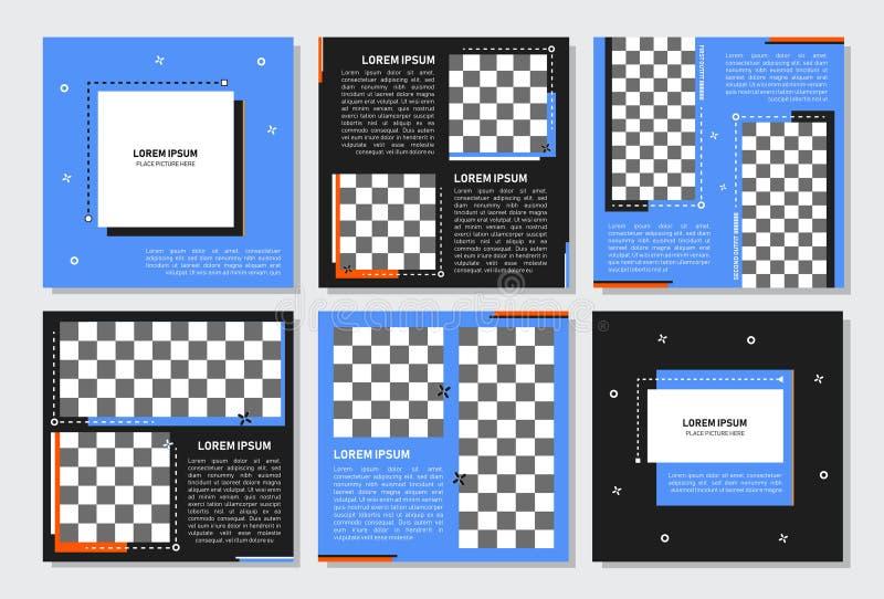 Reeks van editable vierkant bannermalplaatje Editablebanner voor sociale media post en Web/Internet-advertenties Editablebanner a royalty-vrije illustratie