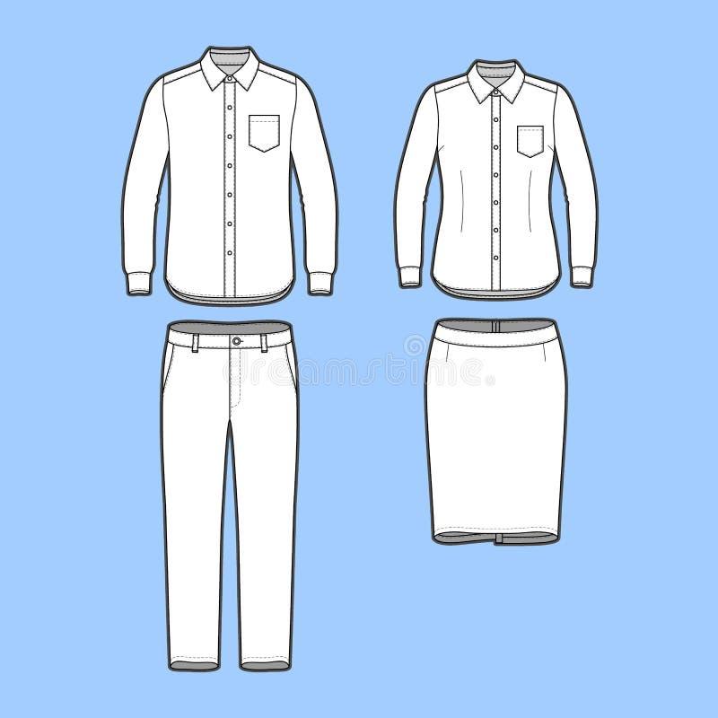 Reeks van een blazer, broek en rok royalty-vrije illustratie